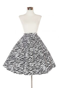 Deadly Dames - Darling Dames Skirt in Zebra - size 2X