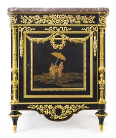 PAUL-CHARLES SORMANI B. 1848 A LOUIS XVI STYLE GILT-BRONZE MOUNTED EBONY AND JAPANESE LACQUER DECORATED CABINET PARIS, LATE 19TH CENTURY, AFTER THE MODEL BY MARTIN CARLIN surmounted by a brèche violette marble top and fitted with a frieze drawer, the cupboard door opening to one shelf, the lock engraved PAUL SORMANI / PARIS / 10, Rue Charlot