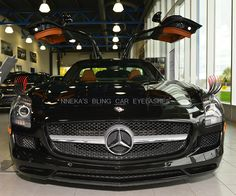 Our 2012 Mercedes-Benz SLS AMG. She looks sexy with her fiery eyelashes - ON SALE FOR $32.99. The vehicle runs for 189,600 - 196,100 dollars! HOT!! Don't let the price of our car eyelashes fool you. It is quality. We created a old with automotive 3M tape that will not cause damage to your vehicle. The airbrushed tips are built to last years! #careyelashes Bling Car Accessories, Mercedes Benz Sls Amg, Premium Cars, Eyelashes, Tape, Vehicles, Hot, Sweet, Lashes