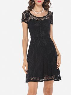 Crew Neck Blended Lace Skater Dress - fashionme.com