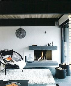 Scandanivian style winter home and fireplace