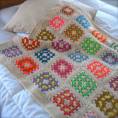 Sweet as Candy Granny Square Afghan by TeenahTime
