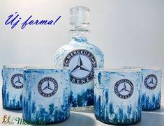 Mercedes  rajongóknak egyedi különleges formájú whiskys üveg házavatóra, tejfakasztó bulira, szülinapra, névnapra. (Biborvarazs) - Meska.hu Vodka Bottle, Decoupage, Jar, Decor, Decoration, Decorating, Jars, Glass, Deco