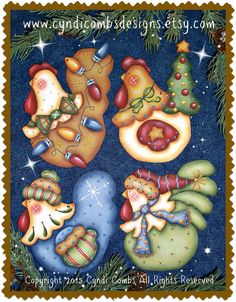 CC187 – Funky Christmas Chickens #4 Painting E Pattern by Cyndi Combs