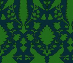 Oiseuax in Navy and Green fabric by sparrowsong on Spoonflower - custom fabric