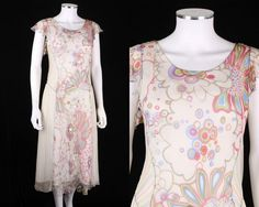 ROZAE NICHOLS WHITE STRIPED FLORAL SILK CHIFFON DRESS + SLIP SZ M #RozaeNichols