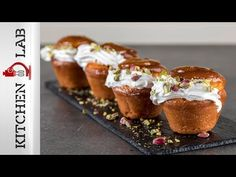 Baba au rhum by the Greek chef Akis Petretzikis! Make easily and quickly this recipe for mouthwatering babas dipped in rum syrup and served with whipped cream! Greek Recipes, Desert Recipes, Greek Sweets, Whipped Cream, Love Food, Rum, Food Processor Recipes, Deserts, Muffin