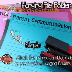 attaching your printable file tabs to your file folders for a more organized file cabinet Folder Organization, Filing Cabinet Organization, Classroom Organisation, Classroom Supplies, Teacher Organization, Classroom Management, Classroom Ideas, Organizing, Classroom Projects