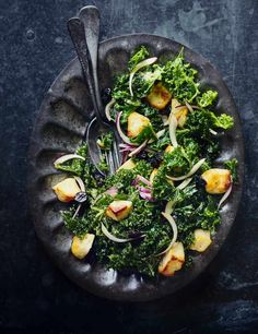 This simple halloumi, kale and tahini salad is quick, delicious and perfect for lunch or a lighter evening meal. The salty halloumi works wonders with the softened kale and nutty tahini