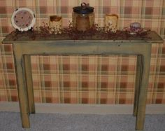 tabacco shed wood primitive furniture | Hall Stand Table-Country Rustic Primitive Furniture