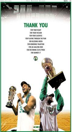boston celtics thank you | Celtics thank Paul Pierce, KG with full-page ad in Globe -Celtics blog ...