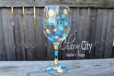 Personalized Wine Glass 20 oz Bachelorette Bridal by ahindle78