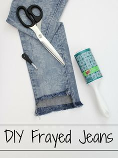 #ad DIY Frayed Jeans + #StickItToLint - Turn your old pair of jeans into trendy frayed jeans- with no mess left behind thanks to Scotch-Brite lint rollers!  Novelstyle