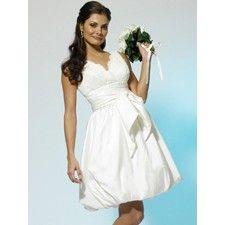 Short Taffeta Lace V-neck Bubble Hem Wedding Gown BC071