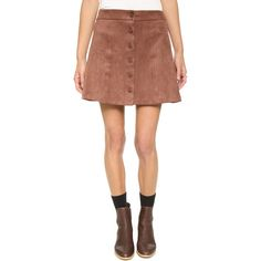 WAYF Button Front Skirt (660 SEK) ❤ liked on Polyvore featuring skirts, brown suede, button front skirt, a-line skirt, knee length a line skirt, retro skirt and brown a line skirt
