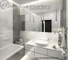 biel i szarość w małej eleganckiej łazience