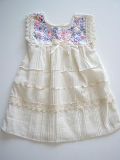 Mexican Baby Dress|Hand embroidered in Mexico|Lightweight-6 months Handmade