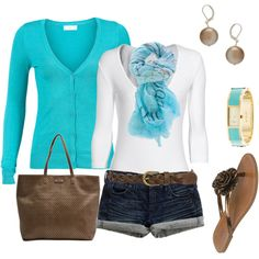 Turquoise and brown casual comfort, created by romigr99