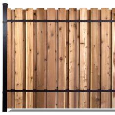 Marvelous Wooden Fence Panels Slipfence 6 Ft X 8 Ft Black Aluminum Middle Post Fence Panel Kit Wood Fence Post, Wooden Fence Panels, Wood Slats, Wood Fences, Fence Posts, Metal Fence, Front Yard Design, Fence Design, Easy Fence