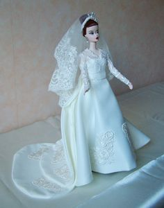 Handmade Silkstone Barbie and Fashion Royalty doll wedding dress.
