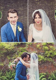groom in blue! / A 1960s Country Garden Inspired Wedding At Iscoyd Park With A Charlie Brear Wedding Dress And A Handpicked Bouquet With Afternoon Tea By Cla...