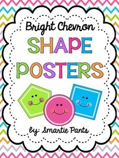 These adorable 2D shape posters include 12 shapes:  square, octagon, star, rectangle, oval, triangle, rhombus, rhombus and diamond, hexagon, circle, pentagon and trapezoid.These posters match our bright chevron behavior chart (Free) and our bright chevron number, color, alphabet and 3D shape posters.