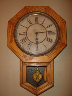UP FOR SALE IS AN ANTIQUE OAK WATERBURY SCHOOL HOUSE CLOCK. THE LOWER DOOR HAS COME APART AND IS MISSING THE GLASS. THE PIECES ARE IN GOOD CONDITION AND CAN BE EASILY REASSEMBLED WITH WOOD GLUE. I OIL