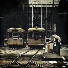 Streetcars, Matsuyama, Japan, photograph by J. Japan Train, Light Rail, Visit Japan, Nihon, Transportation, Japanese, Adventure, Landscape, Country