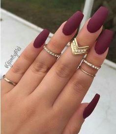 Nice deep red nails
