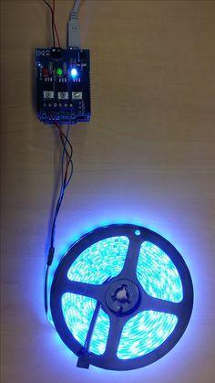 Commander la luminosité, la couleur, les effets lumineux d'un ruban à leds RGB depuis un smartphone ou une tablette<br /><p></p><br /><p>Un ruban à leds est livré avec une petite télécommande infrarouge qui a la fâcheuse habitude de disparaître sous les coussins du canapé ou sous les magazines posés sur la table basse.<br> De plus, le récepteur infrarouge est souvent soudé au bout d'un fil relativement souple et il faut bien viser le récepteu... Arduino, Bed With Led Lights, Ruban Led Rgb, Smartphone, Projects, Shelving, Nerdy, Magazines, Cabinets