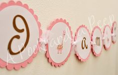 Pink and Brown Giraffe Birthday High chair banner by APookandAPeep, $12.00