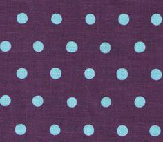 HALF YARD Kokka Fabric - Echino Polka Dots - Purple with Aqua Dots - Japanese. $8.50, via Etsy.