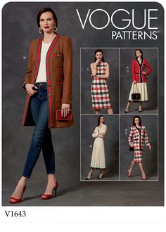 Misses and Misses Petite Jacket, Dress and Skirt Vogue Sewing Pattern 1643 from Sew Essential. Free delivery on orders and over. Skirt Patterns Sewing, Vogue Sewing Patterns, Clothing Patterns, Skirt Sewing, Clothing Ideas, Diy Fashion No Sew, Fashion Sewing, Sew Your Own Clothes, Sewing Clothes