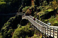 El último trecho del río Mao, afluente del Sil, es trepidante. Desciende unos 600 metros de desnivel en pocos kilómetros, formando rápidos y pequeñas cascadas por un serpenteante y estrecho valle. Una pasarela de madera suspendida a mitad de ladera acompaña, desde las alturas, tan trepidante discurrir hasta su desembocadura. El sendero (dos kilómetros de recorrido plano) parte de La Fábrica, una vieja central eléctrica convertida en albergue.