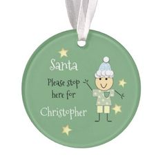 Personalized name little boy green Christmas Santa Ornament - Xmas ChristmasEve Christmas Eve Christmas merry xmas family kids gifts holidays Santa