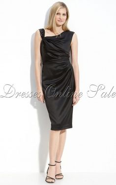 Discount Black Sheath Tea-length Elastic Woven Satin Straps Dress With Crystals