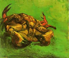 Page: Crab on It`s Back Artist: Vincent van Gogh Completion Date: 1889 Place of Creation: Arles, Bouches-du-Rhône, France Style: Post-Impressionism Genre: animal painting Technique: oil Material: canvas Dimensions: 46.5 x 38 cm