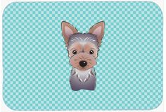 Checkerboard Blue Yorkie Puppy Mouse Pad, Hot Pad or Trivet BB1170MP