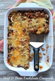 Beef and Bean Enchilada Casserole. Beef and Bean Enchilada Casserole Recipe for layered Beef and Bean Enchilada Casserole. Mexican Food Recipes, Beef Recipes, Dinner Recipes, Cooking Recipes, Healthy Recipes, Cooking Tips, Recipies, Dinner Casserole Recipes, Cooking Bacon