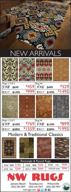 Oregon Advertising NW Rugs | Portland  New Arrivals Sale on now.