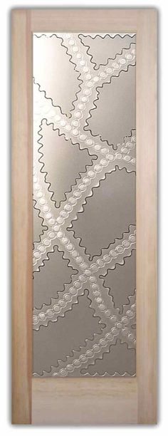 Glass Front Doors Etched Carved Bands with Circles Frosted