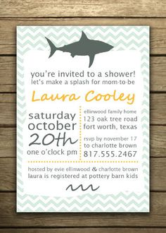 Printable Nautical-Themed Invitation for Baby Shower, Birthday, Etc. with Shark. $16.00, via Etsy.