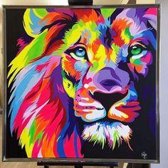 Colorful Lions bright colors really make it eye catching! Lion Painting, Graffiti Painting, Acrylic Painting Canvas, Acrylic Painting Animals, Colorful Animal Paintings, Tableau Pop Art, Desenho Tattoo, Lion Art, Arte Pop