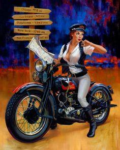 Harley-Davidson Pin Up Girls Motorcycle Posters, Motorcycle Art, Bike Art, Bike Poster, Classic Motorcycle, Girl Motorcycle, Harley Davidson Chopper, Harley Davidson Motorcycles, Vintage Motorcycles