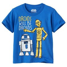 Boys 4-7 Star Wars: Episode VII The Force Awakens R2D2 & C3PO Graphic Tee, Blue