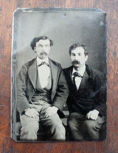 Victorian Portraits of Men | Victorian Tintype Portrait of Handsome Men / Mustache Competition