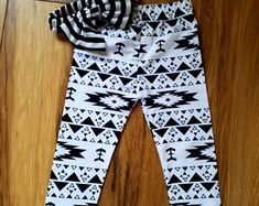 Girls white and black pattern leggings and head band Red And White Outfits, Pattern Leggings, Black Pattern, Band, Trending Outfits, Girls, Stuff To Buy, Etsy, Vintage