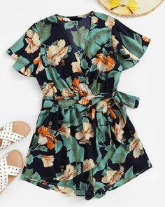 ChicLadies Infant Baby Flare Sleeve Bodysuit Kids Girls Jumpsuit Overalls Newborn Romper Best Summer Gifts