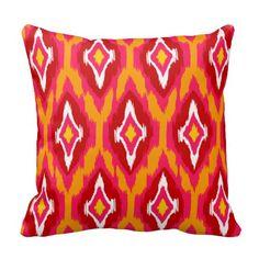 Modern fuchsia pumpkin red Ikat Tribal Pattern Throw Pillow Artwork designed by ArtStudioPillows Artwork Design, Designer Throw Pillows, Custom Pillows, Art Studios, Ikat, Your Design, Pumpkin, Knitting, Spiral