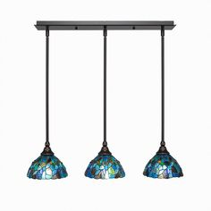 Cambridge 3-Light Dark Granite Island Pendant with Blue Mosaic Tiffany-Style Glass